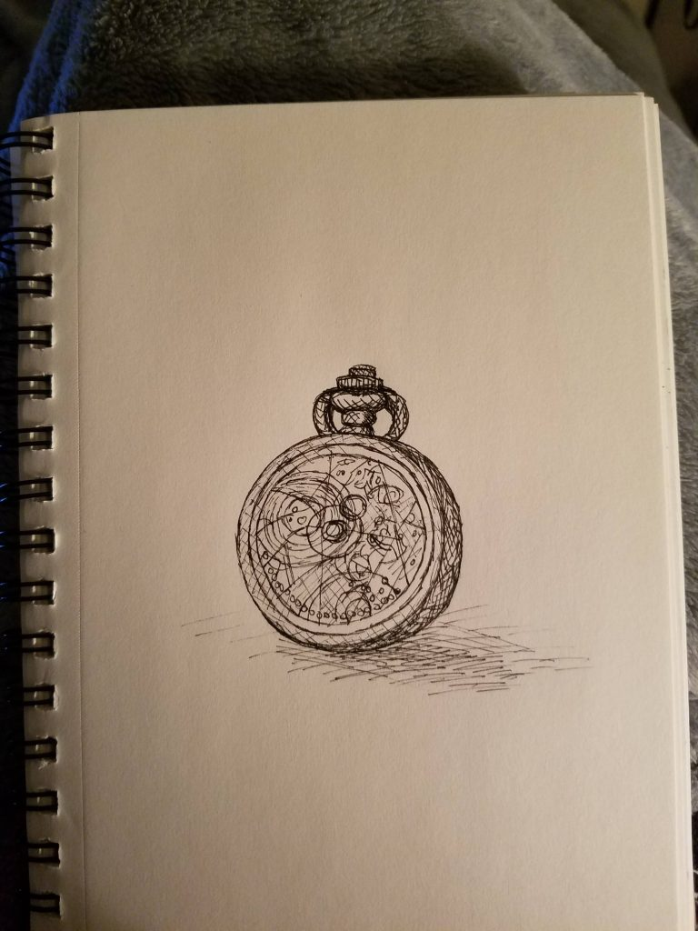 Sketchbook view of Clock by Laura Jaen Smith. Black and white ink drawing of gallifreyan clock.