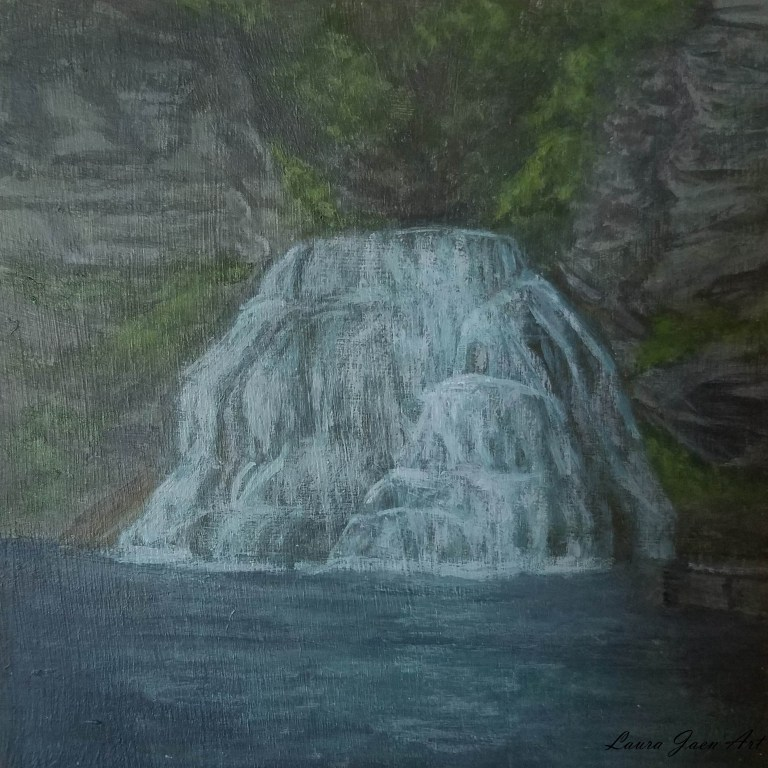 Enfield Falls by Laura Jaen Smith. Acrylic landscape painting of Treman State Park Ithaca from 50 NY Waterfalls Project.