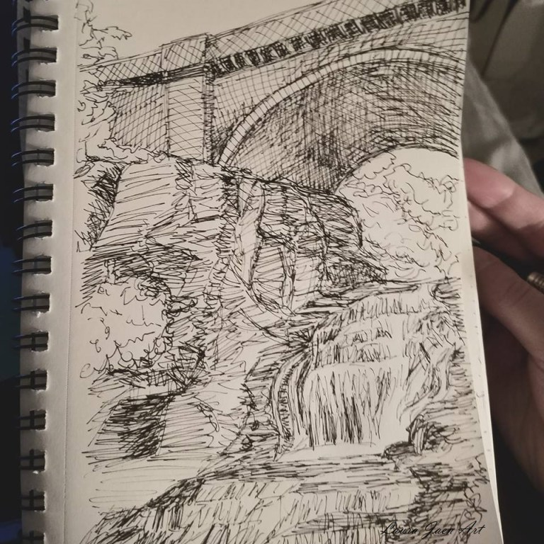 Sketchbook view of Giant's Staircase by Laura Jaen Smith. Black and white ink drawing of waterfall of Cascadilla Gorge Ithaca.