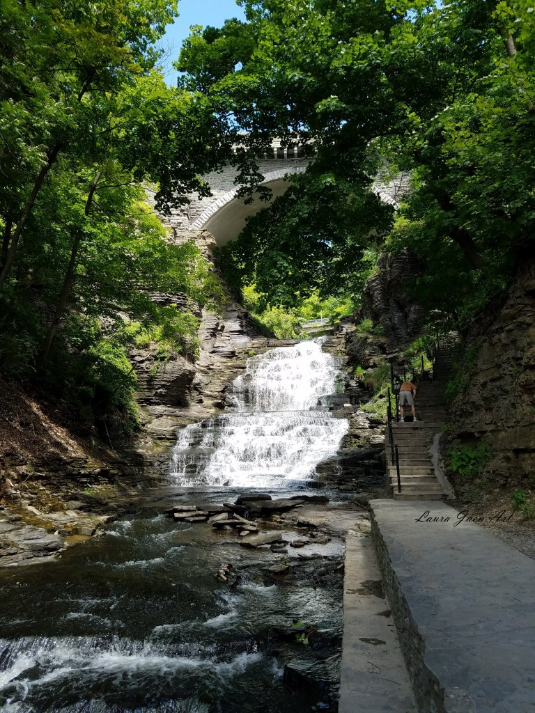 Photo of Giant's Staircase waterfall Cascadilla Gorge Trail Ithaca NY by Laura Jaen Smith