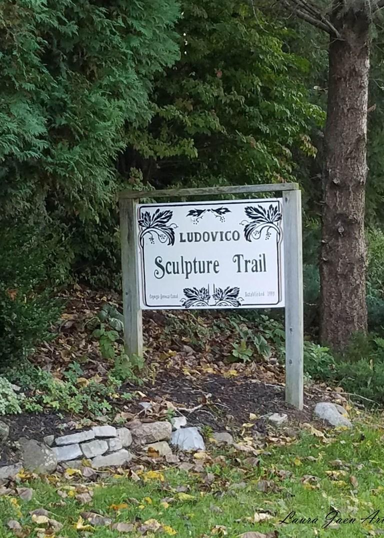 Photo of sign Ludovico Sculpture Trail Seneca Falls NY by Laura Jaen Smith