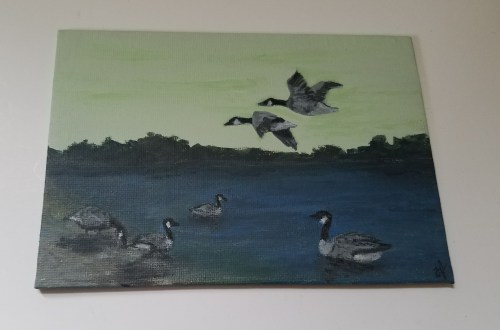 Six Geese a Laying by Laura Jaen Smith. Acrylic painting from 12 Days of Christmas series.