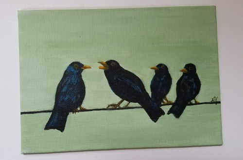 Four Calling Birds by Laura Jaen Smith. Acrylic painting from 12 Days of Christmas series.
