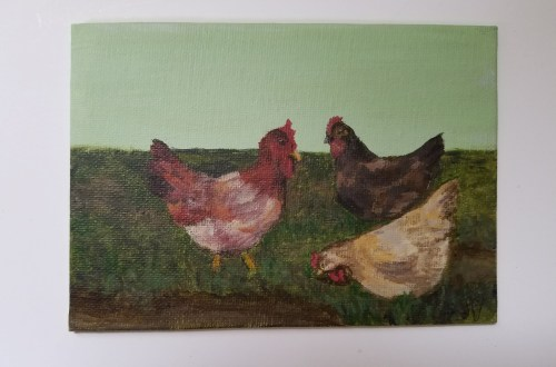 Three French Hens by Laura Jaen Smith. Acrylic painting from 12 Days of Christmas series.