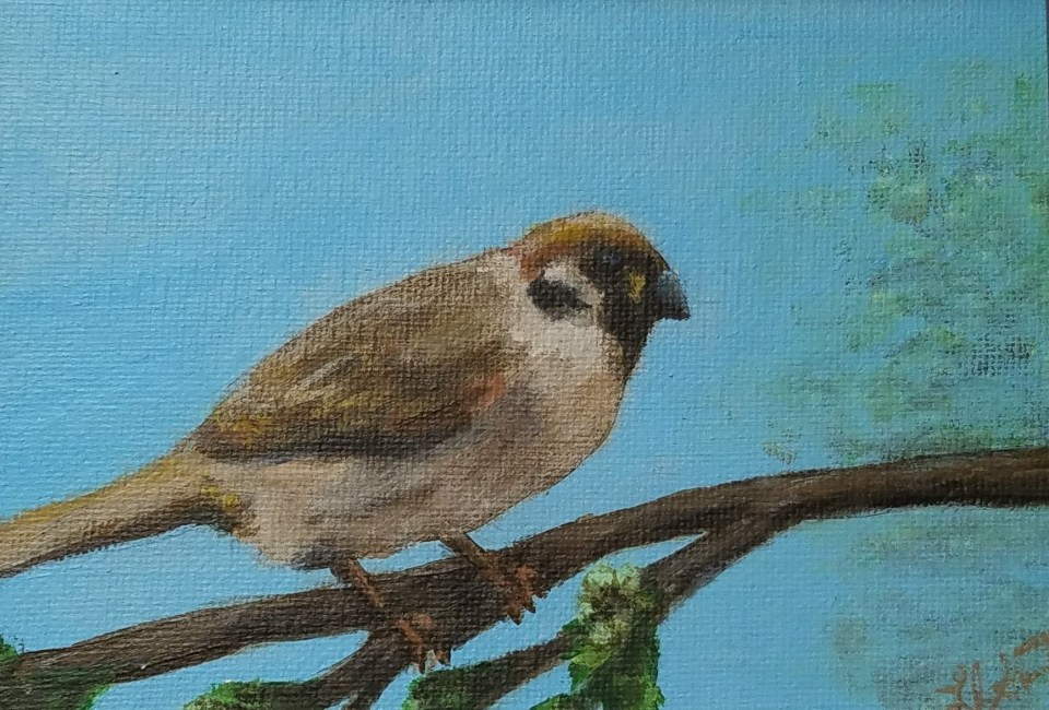 Thinking Spring II by Laura Jaen Smith. Acrylic painting of bird.