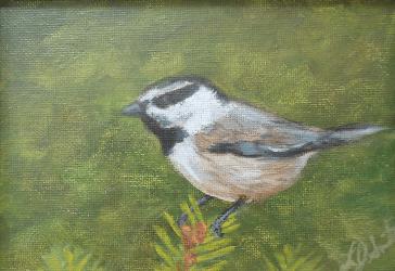 Thinking Spring III by Laura Jaen Smith. Acrylic painting of bird.