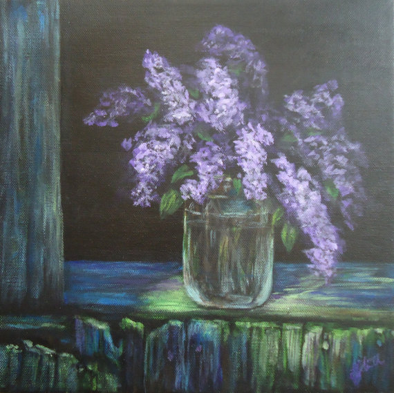 Country Lilacs by Laura Jaen Smith. Acrylic painting of jar of lilacs on ledge of weathered barn.