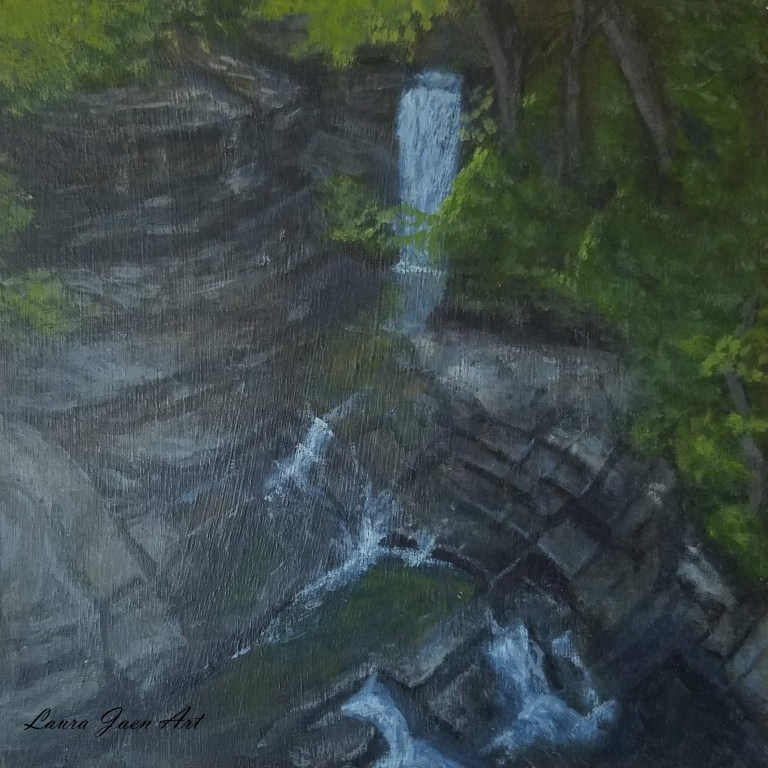 Bridge 7 Falls by Laura Jaen Smith. Square acrylic landscape painting of waterfall in Fillmore Glen State Park Moravia. 50 NY Waterfalls Project.