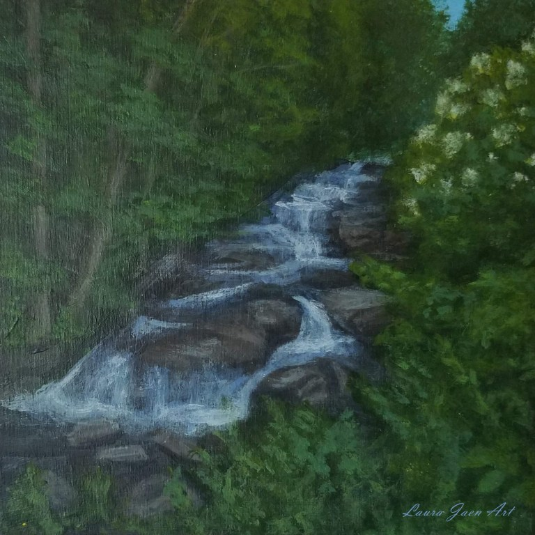 Stockbridge Falls by Laura Jaen Smith. Square acrylic landscape painting of waterfall from 50 New York Waterfalls series