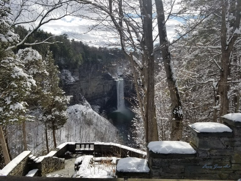 Photo of Taughannock Falls in winter from overlook by Laura Jaen Smith