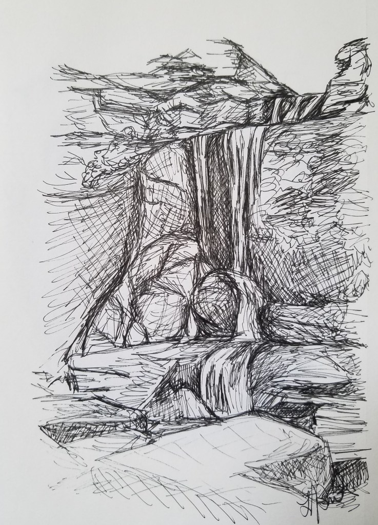 Cowshed Falls by Laura Jaen Smith. Black and white ink drawing of waterfall Fillmore Glen State Park Moravia NY.