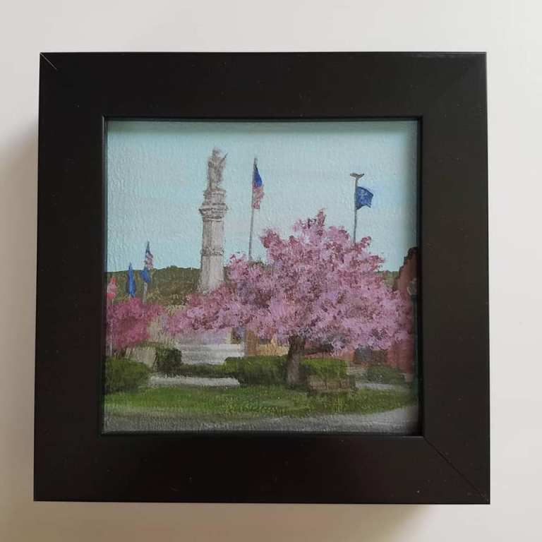 Draper Park in Spring by Laura Jaen Smith. Framed acrylic landscape painting of Owego NY. Around the Finger Lakes Series.