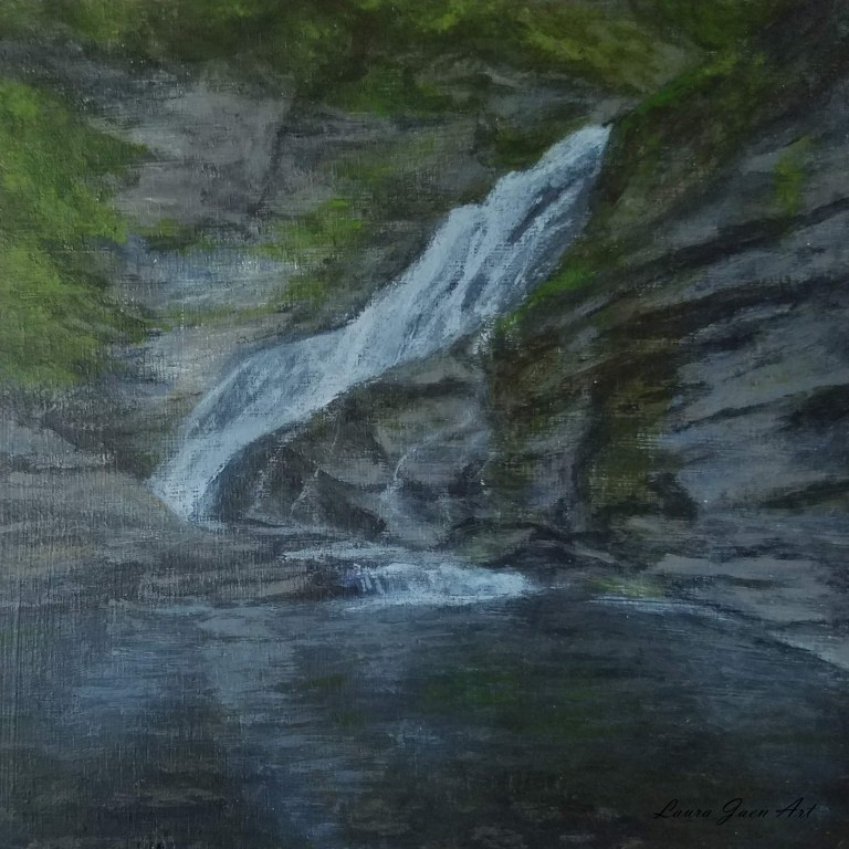 Lucifer Falls by Laura Jaen Smith. Square acrylic Landscape painting of waterfall in Robert H Treman State Park Ithaca from 50 NY Waterfall series