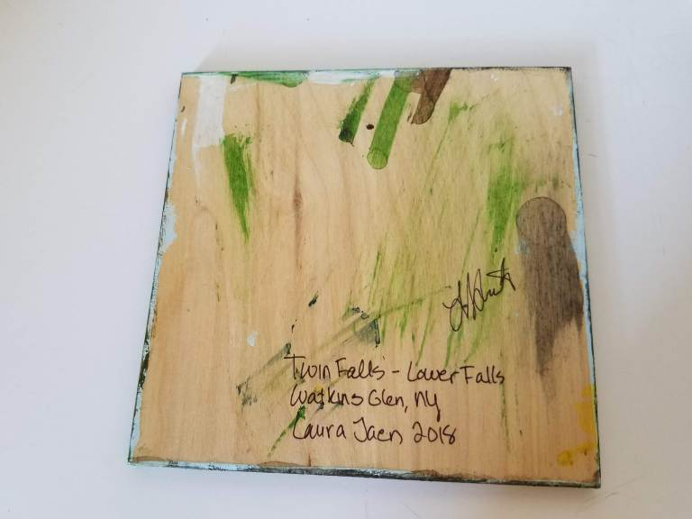 Twin Falls Lower Falls by Laura Jaen Smith back of painting
