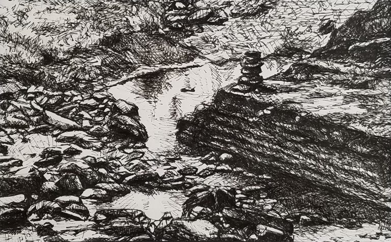 Cairn in the Creek by Laura Jaen Smith. Black and white ink drawing of river scene from Robert H Truman State Park Ithaca NY