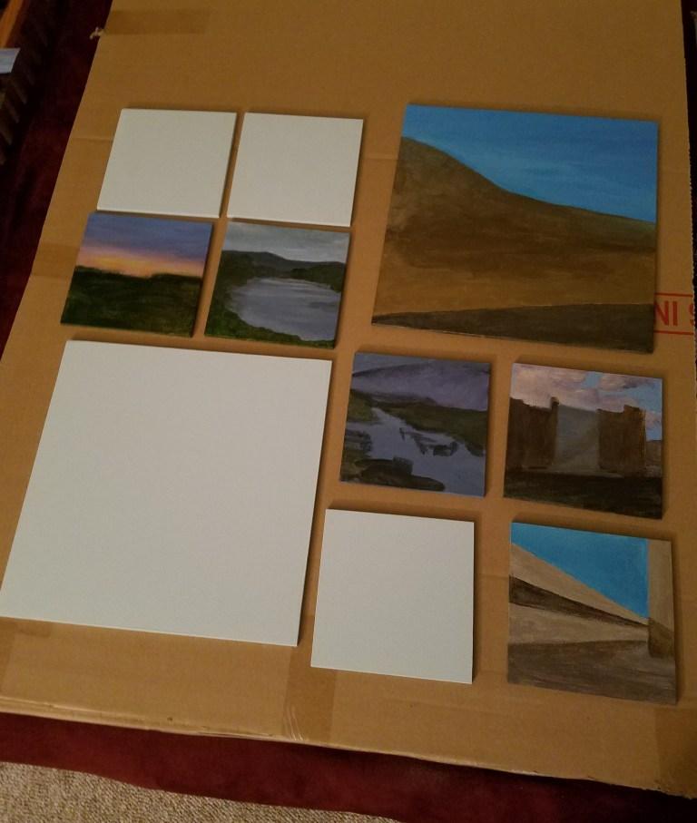 Work in progress photo of Kaleidoscope summer mosaic paintings.