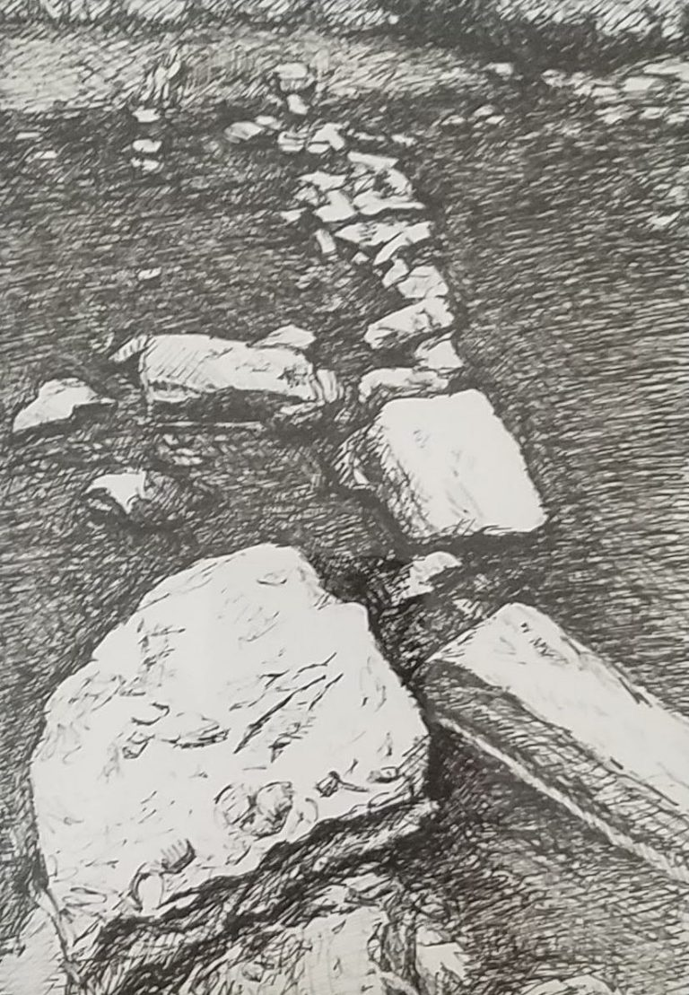 Stepping Stones by Laura Jaen Smith. Black and white ink drawing of river stones in creek.
