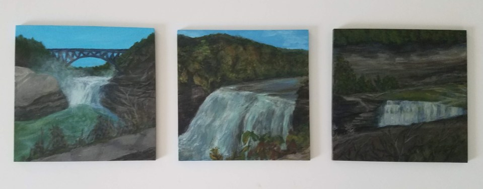 Letchworth State Park Collection - Upper Falls, Middle Falls, and Lower Falls by Laura Jaen Smith. Three square acrylic waterfall paintings