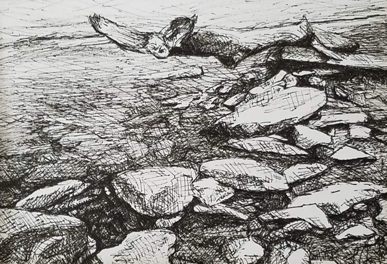 Rock Collection by Laura Jaen Smith. Black and white ink drawing of rocks and interesting branch in creek.