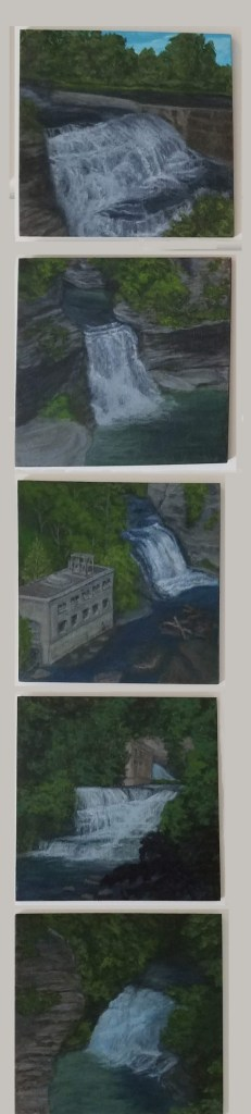 Fall Creek Gorge Collection by Laura Jaen Smith. Five waterfall paintings Ithaca from 50 NY Waterfall Series.