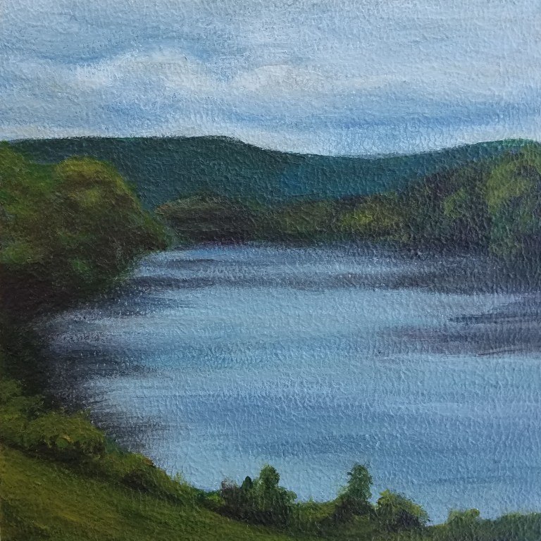 Along the River by Laura Jaen Smith. Square acrylic landscape painting of overcast day along the Chemung River.