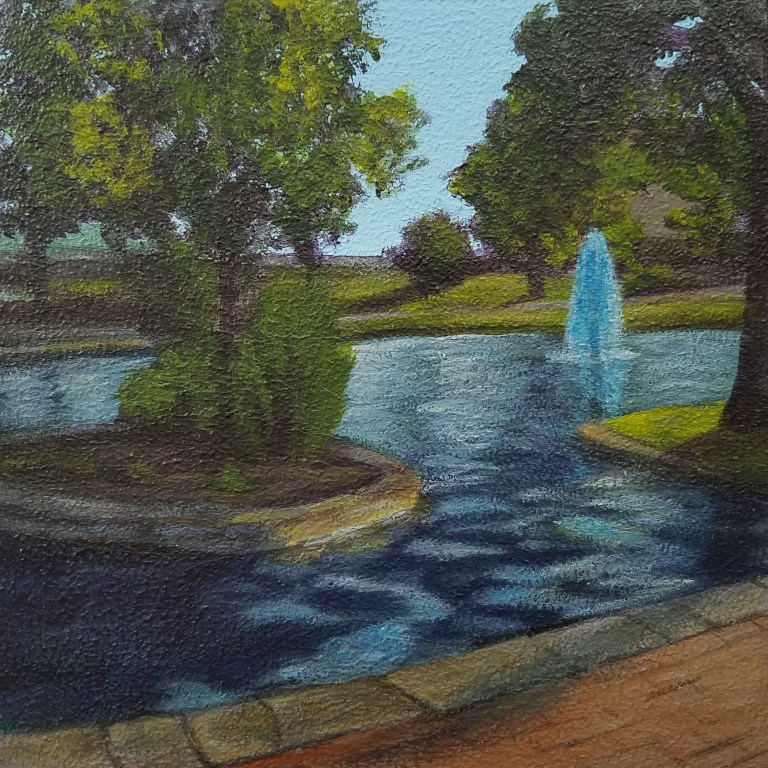 Downtown Park by Laura Jaen Smith. Square acrylic landscape painting of fountain at Mark Twain Riverside Park in Elmira NY