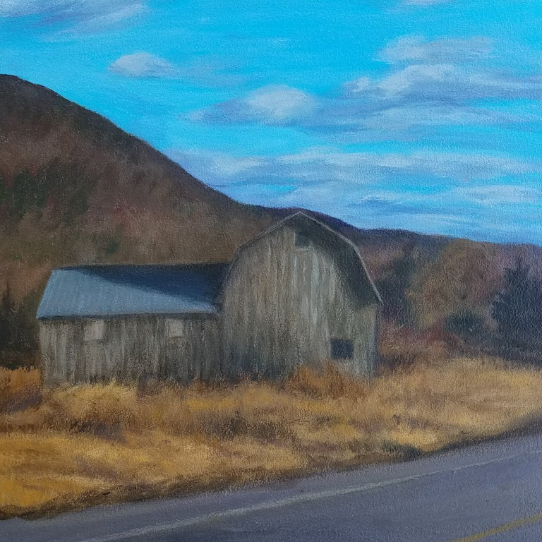 Autumn Barn by Laura Jaen Smith. Square acrylic landscape painting of rural barn on fall day with blue sky Corning Beaver Dams NY