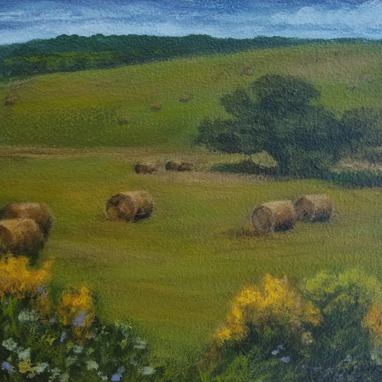Haybales in Field by Laura Jaen Smith. Square acrylic landscape painting of hay rounds in a country field.
