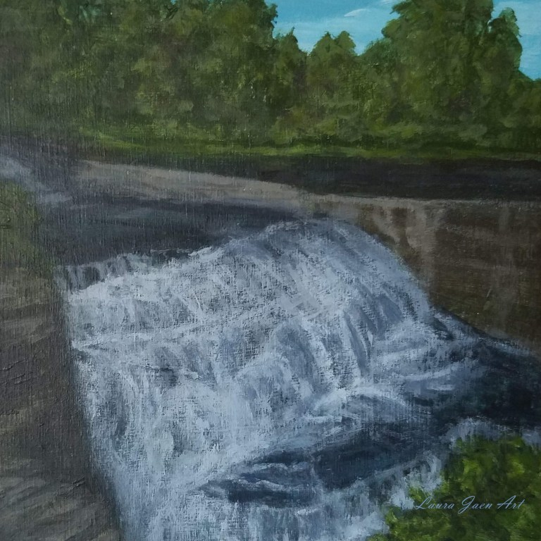 Upper Triphammer Falls by Laura Jaen Smith. Square acrylic landscape painting of waterfall in Fall Creek Gorge Ithaca. 50 New York Waterfall Series.