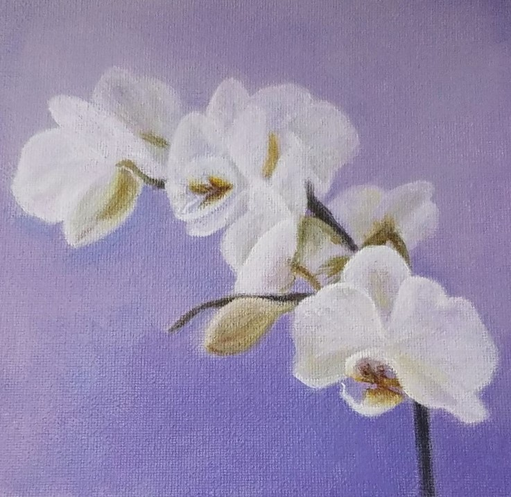 Orchid with Lavender by Laura Jaen Smith. White orchid square acrylic painting against light purple background.