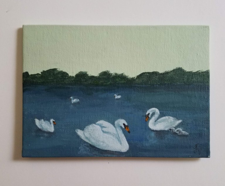 Seven Swans a Swimming by Laura Jaen Smith. Acrylic painting of swans swimming in a pond.