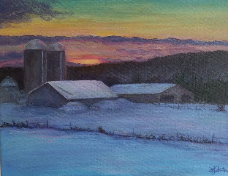 Winter Sunset on the Farm by Laura jaen Smith. Landscape painting of snowy farm with barn and haystacks. NY rolling hills in the distance with warm purple and yellow sunset in the distance.