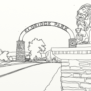 Eldridge Park entrance arch and lions outline coloring page by Laura Jaen Smith