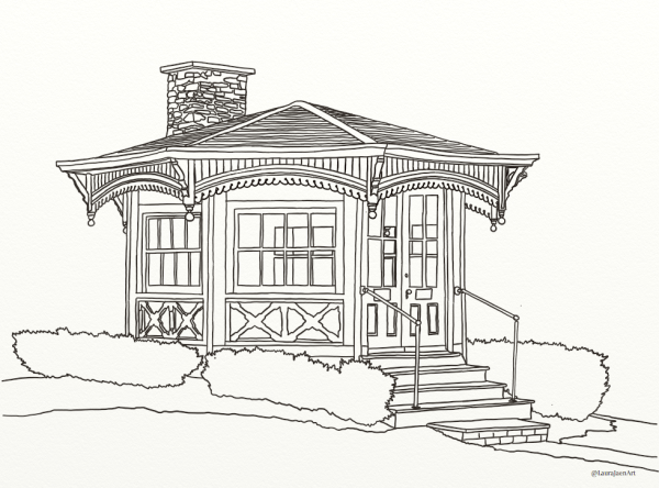 Mark Twain Study outline coloring page by Laura Jaen Smith. Study where Samuel Clemens wrote in Elmira NY