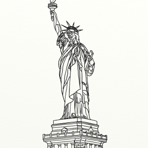 Statue of Liberty outline coloring page by Laura Jaen Smith