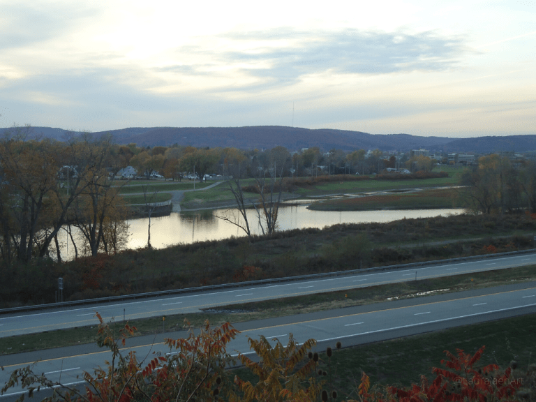 Photo looking across Route 86 and Chemung River into Elmira NY by Laura Jaen Smith