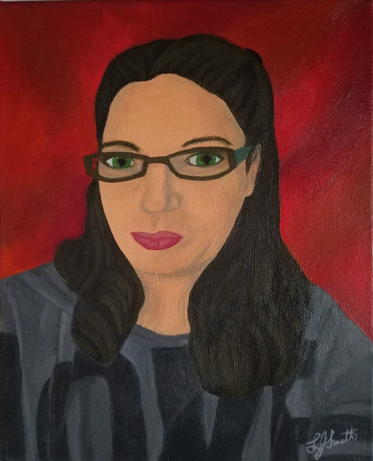 Corona Self-Portrait: Love by Laura Jaen Smith. Gouache self portrait of woman in grey sweatshirt with LOVE in black letters across it, Brown partial pigtails. Red background.
