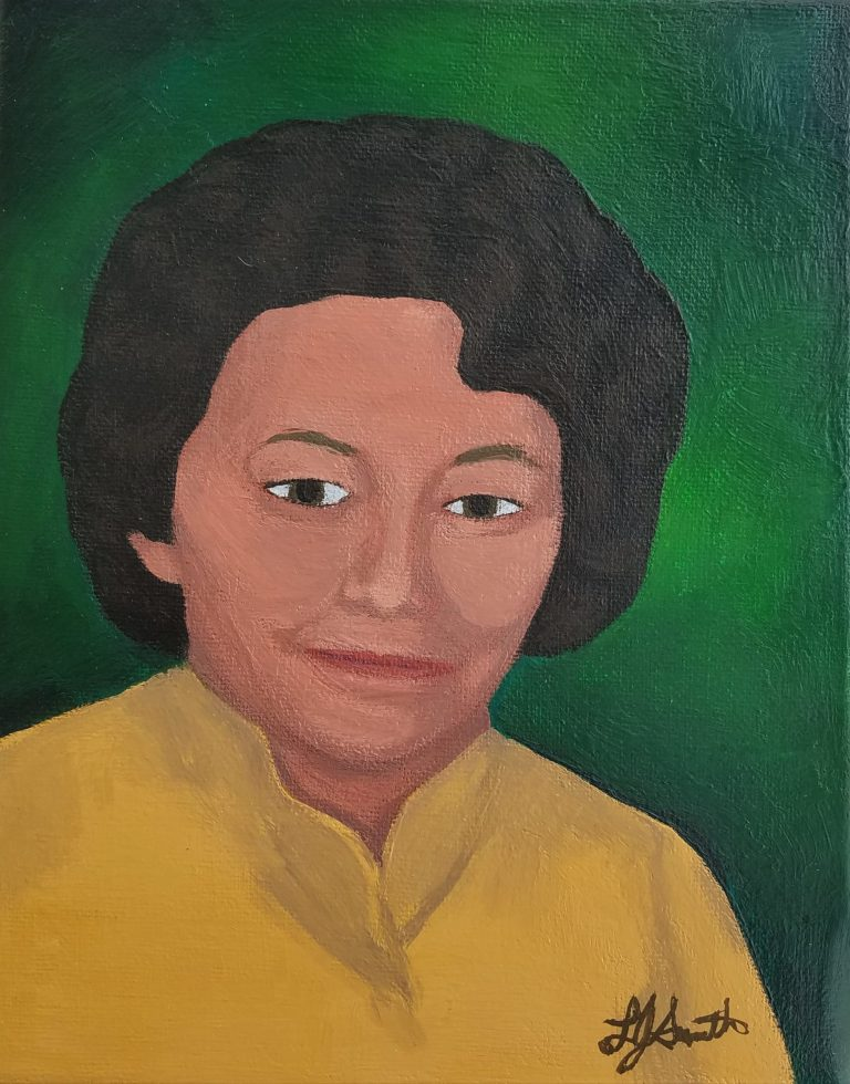 Mrs. Williams portrait by Laura Jaen Smith. Gouache painting of woman in yellow with green background.