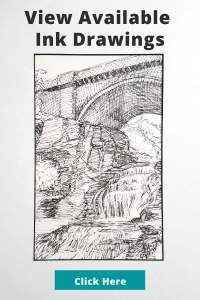 View available ink drawings button linked to etsy shop Laura Jaen Art. Black and white ink drawing of Giant's Staircase waterfall in Ithaca, NY