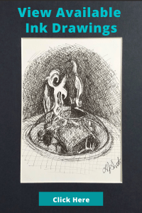 View available ink drawings button linked to etsy shop. Black and white Ink drawing of fire pit.