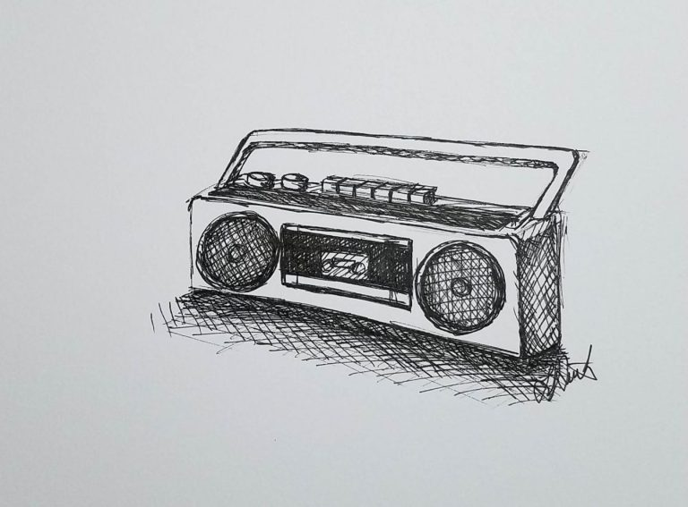 Radio by Laura Jaen Smith. Black and white ink drawing of 90's style boom box cassette player