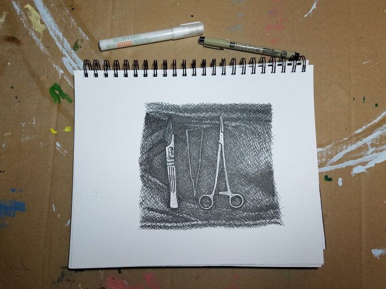 Sketchbook view with pens of Surgeon's Tools by Laura Jaen Smith. Black and white ink drawing of surgical instruments.