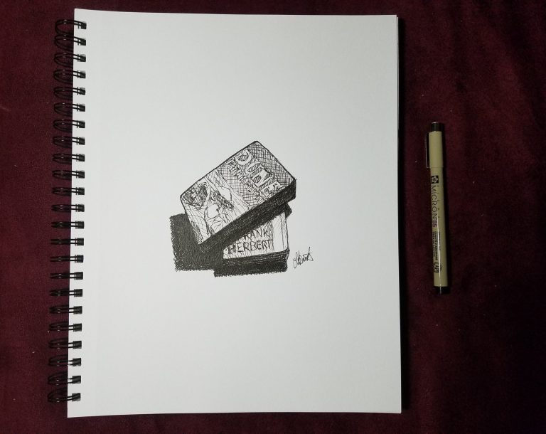Sketchbook view and pen of Dune by Laura Jaen Smith. Black and white ink drawing of two Dune books stacked cris-crossed.