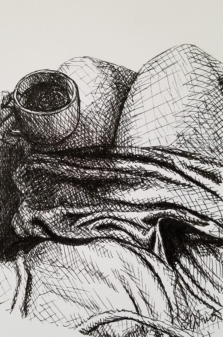 Cozy Afternoon by Laura Jaen Smith. Black and white ink drawing of someone in comfy clothes looking downward towards a warm cup of coffee/tea..