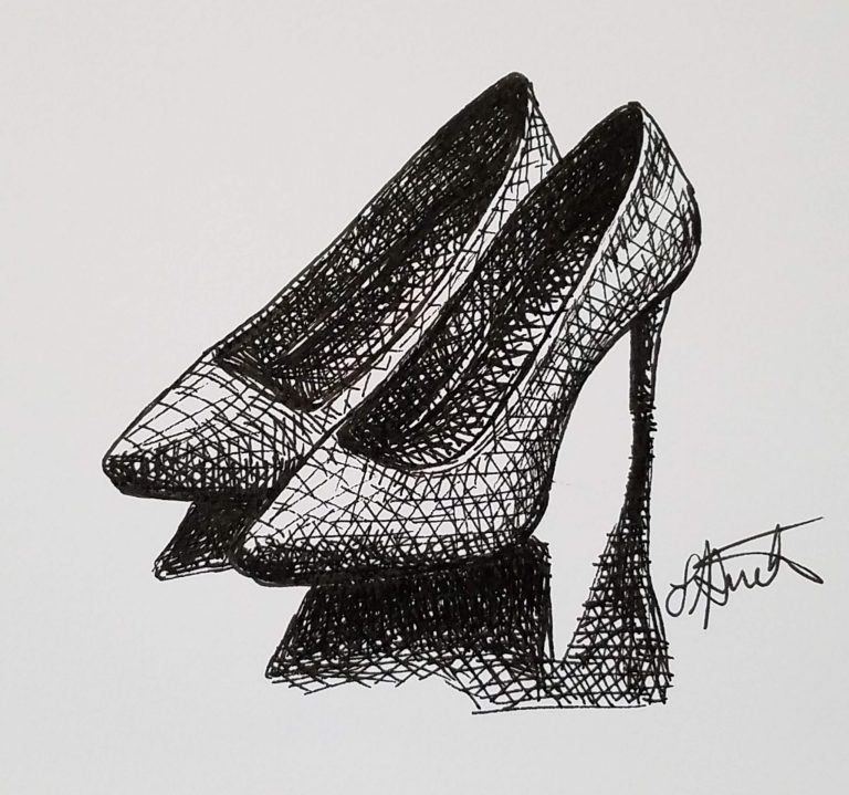 High Heels by Laura Jaen Smith. Black and white ink drawing of high heeled shoes.