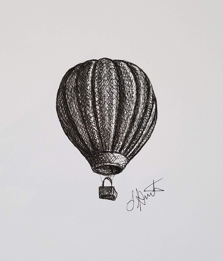 Up, Up & Away by Laura Jaen Smith. Black and white ink drawing of a hot air balloon in the air.