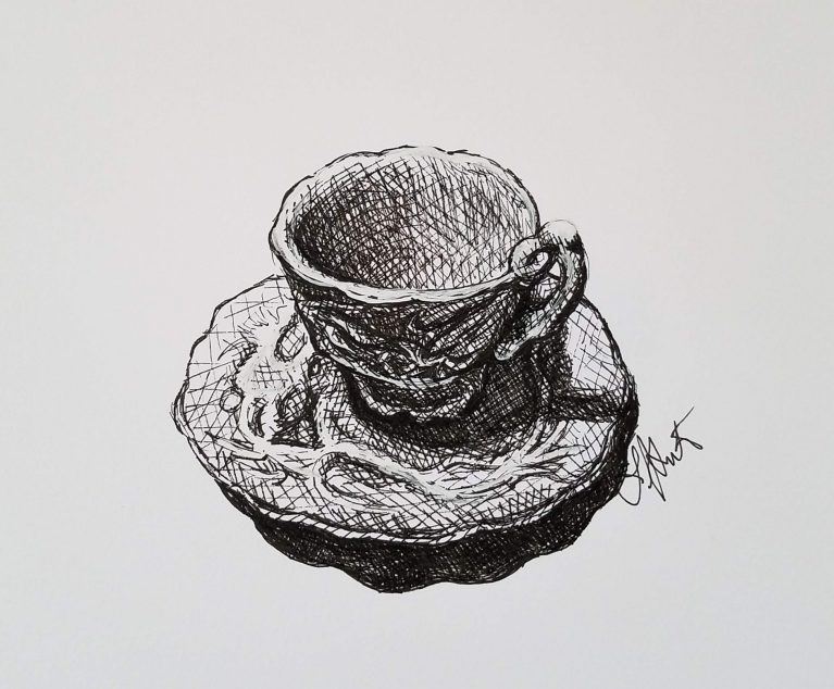 Cup of Tea by Laura Jaen Smith. Ink drawing of antique tea cup on saucer.
