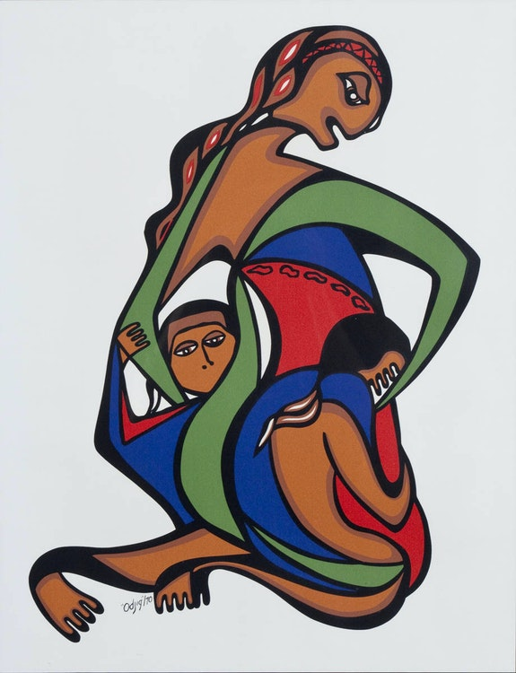 Untitled by Daphne Odjig Indigenous Canada artist. Painting with vibrant colors and bold outlines, curved lines, and overlapped shapes depicting mother and two children
