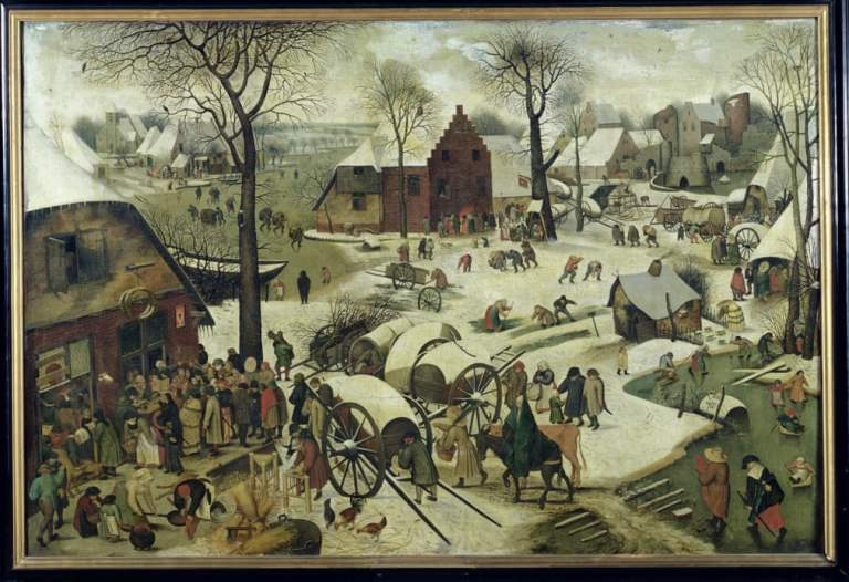 Census at Bethlehem by Pieter Bruegel the Elder. Northern Renaissance painting of snow-covered busy town center
