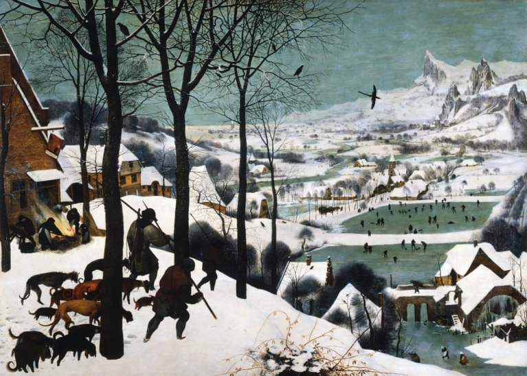 Hunters in the Snow by Pieter Bruegel the Elder. Northern Renaissance painting of hunters walking through snow followed by a pack of dogs overlooking the town with a frozen river